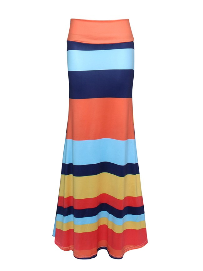 Fashionmia Color Block Striped Mermaid Maxi Skirt