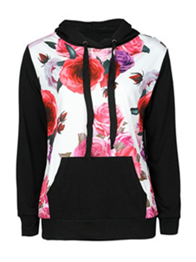 Fashionmia Patch Pocket Floral Long Sleeve Hoodies