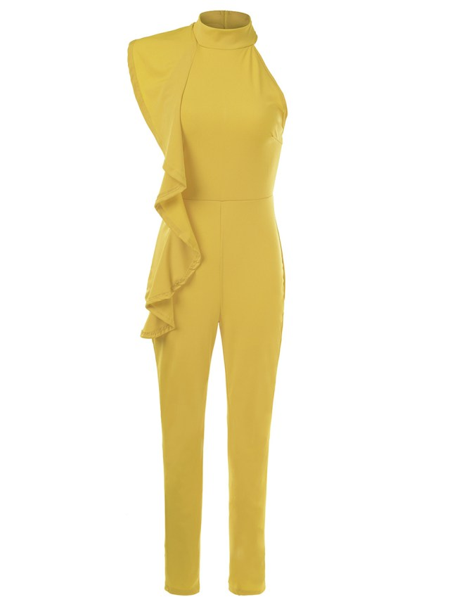Fashionmia Band Collar Flounce Plain Slim-Leg Jumpsuit