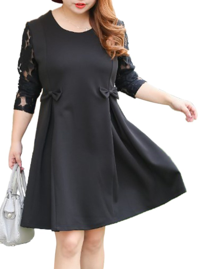 Fashionmia Bowknot Patchwork Hollow Out Plain Plus Size Flared Dress