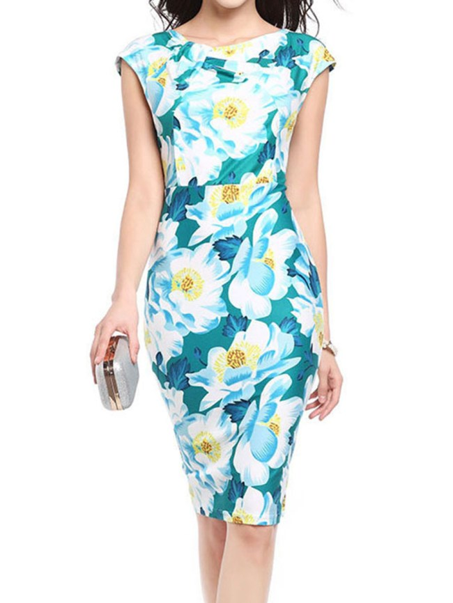 Fashionmia Boat Neck Floral Bodycon Dress