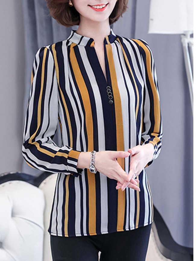 Fashionmia Autumn Spring Chiffon Women V-Neck Striped Long Sleeve Blouses