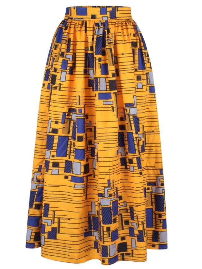 Fashionmia Geometric Printed Flared Elastic Waist Maxi Skirt