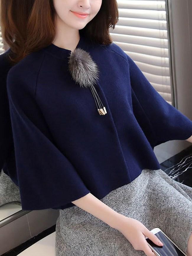 Fashionmia Fur Ball Cloak Bat Plain Shirt Cape
