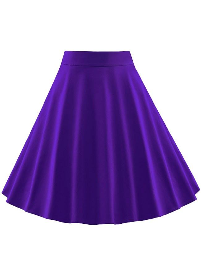 Fashionmia Basic Plain Flared Midi Skirt
