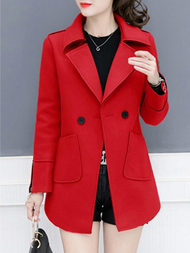 Fashionmia Notch Lapel Chain Plain Long Sleeve Coats