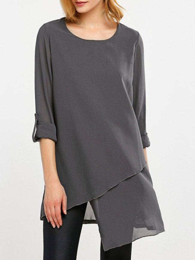 Fashionmia Round Neck Asymmetric Hem Plain Long Sleeve Blouses