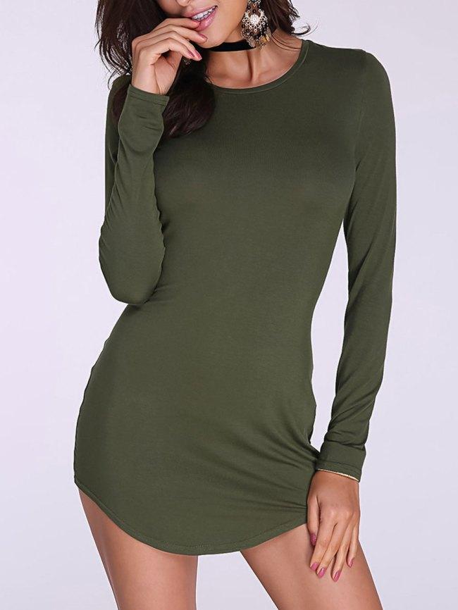 Fashionmia Round Neck Asymmetric Hem Plain Long Sleeve T-Shirts