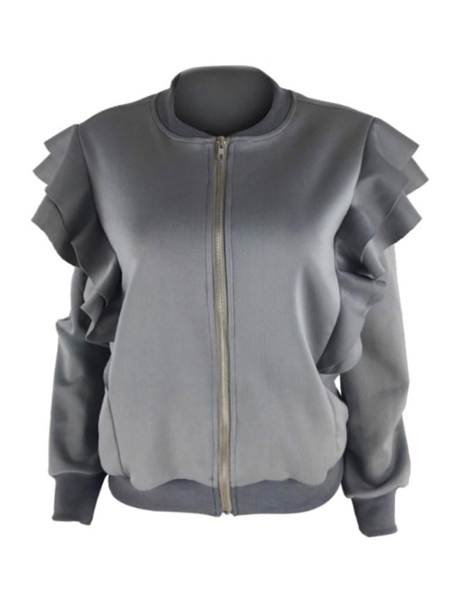 Fashionmia Band Collar Flounce Zips Plain Long Sleeve Jackets