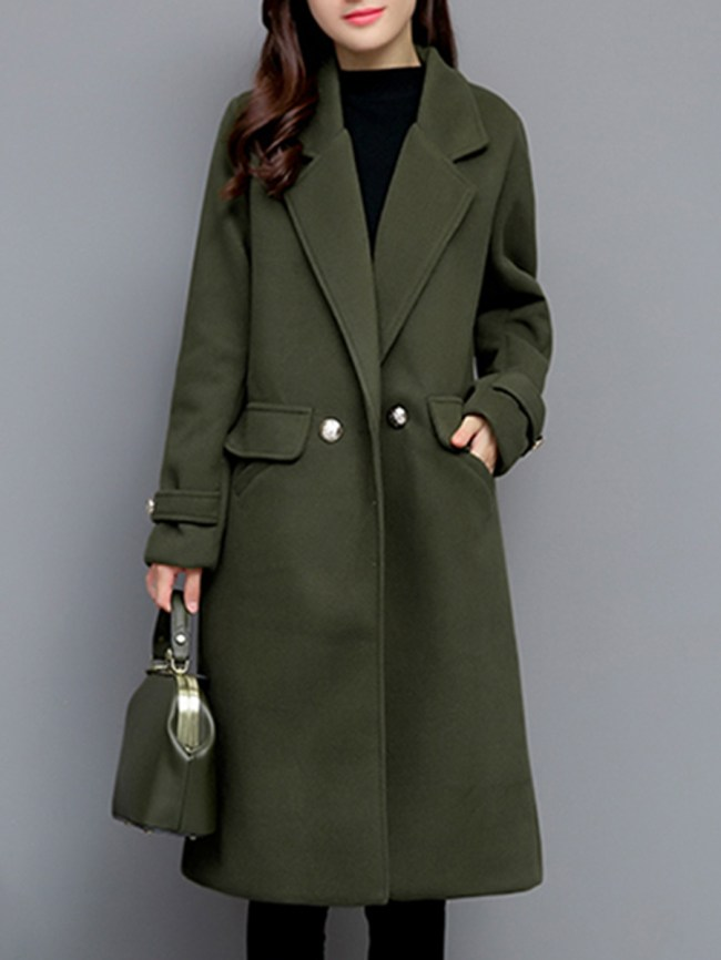 Fashionmia Fold-Over Collar Flap Pocket Plain Long Sleeve Coats