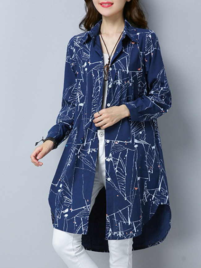 Fashionmia Single Breasted Abstract Print Long Sleeve Trench Coats