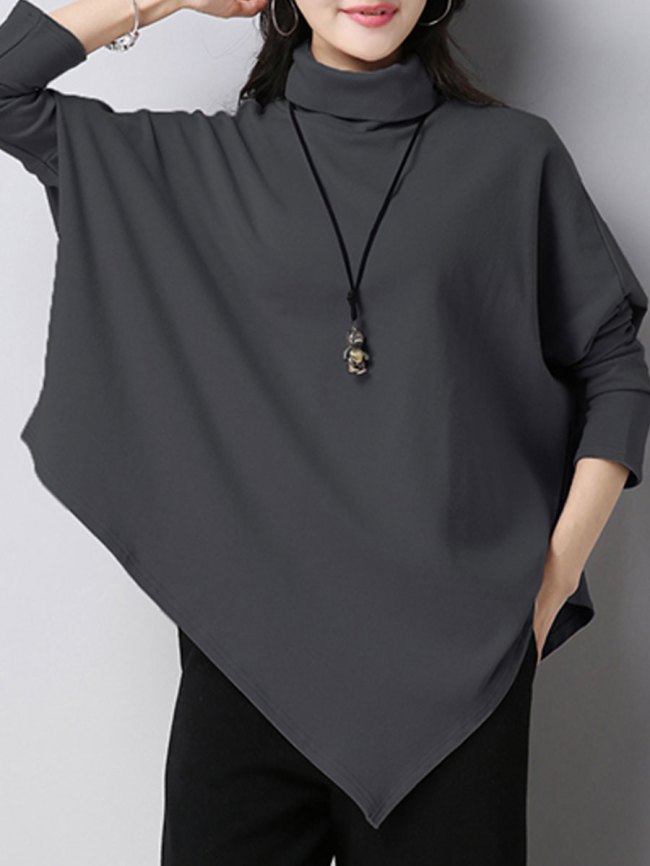 Fashionmia Turtleneck Asymmetric Hem Plain Batwing Sleeve Long Sleeve Blouses