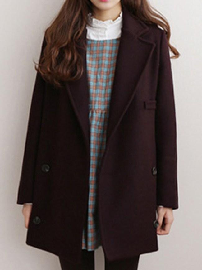 Fashionmia Lapel Double Breasted Pocket Plain Coat