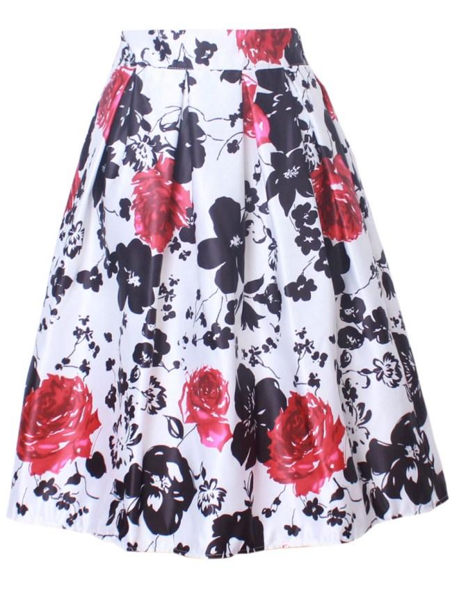 Fashionmia Elastic Waist Flared Midi Skirt In Floral Printed