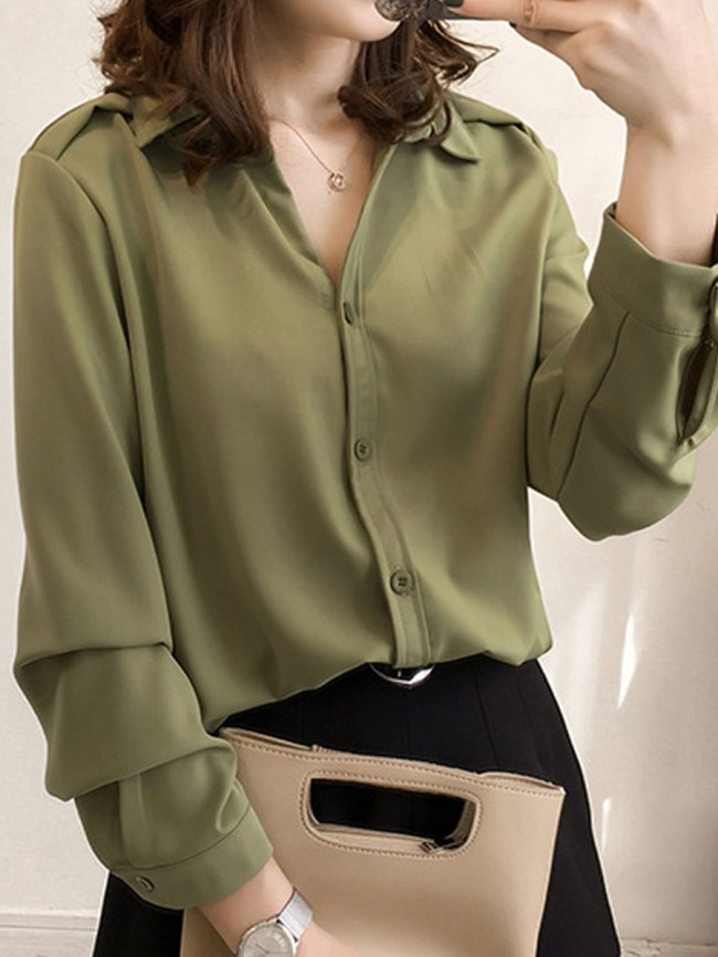 Fashionmia Single Breasted Plain Long Sleeve Blouses