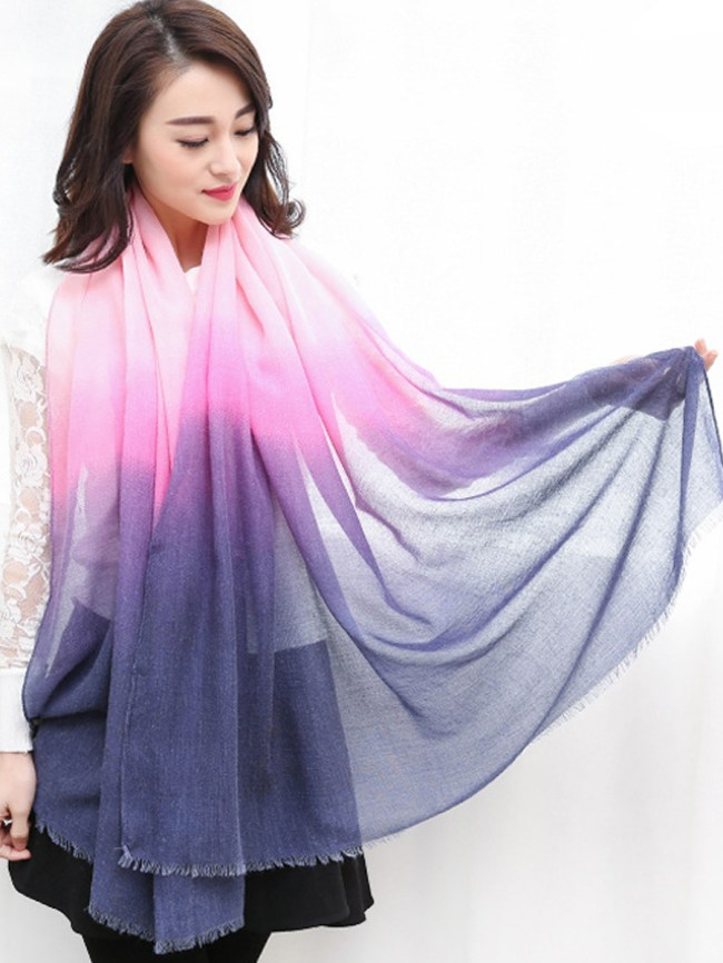 Fashionmia Lady Fashion Color Block Linen Scarves
