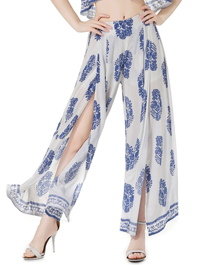 Fashionmia High Slit Printed Wide-Leg Casual Pants