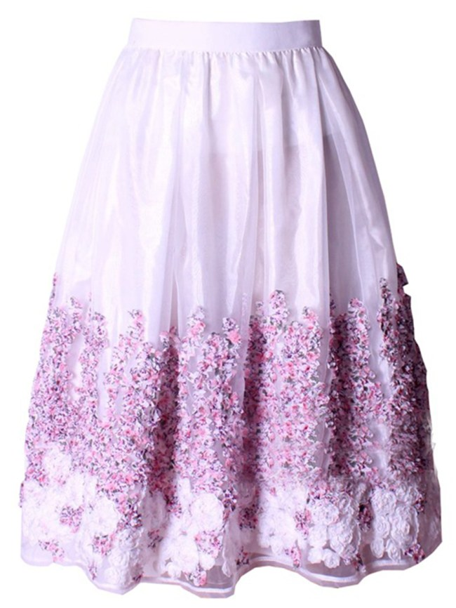 Fashionmia Embossed Embroidery Flared Midi Skirt