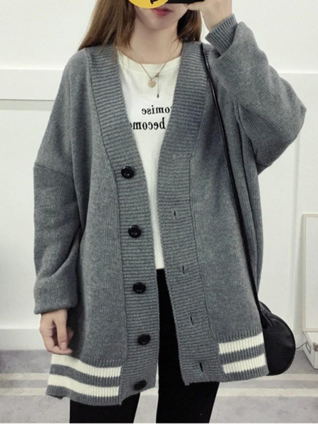 Fashionmia Collarless Plain Striped Long Sleeve Coats
