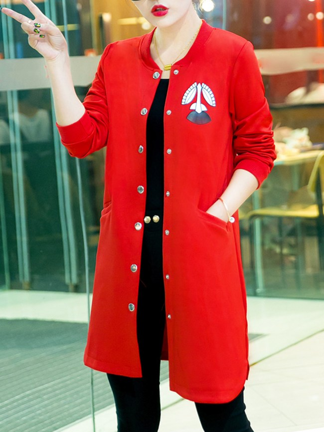 Fashionmia Autumn Spring Polyester Single Breasted Plain Long Sleeve Trench Coats