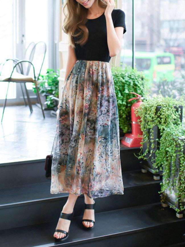 Fashionmia Round Neck Elastic Waist Printed Maxi Dress