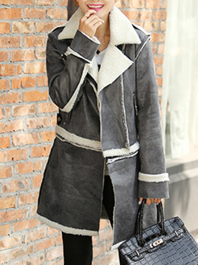 Fashionmia Fold-Over Collar Zips Two Way Plain Long Sleeve Coats