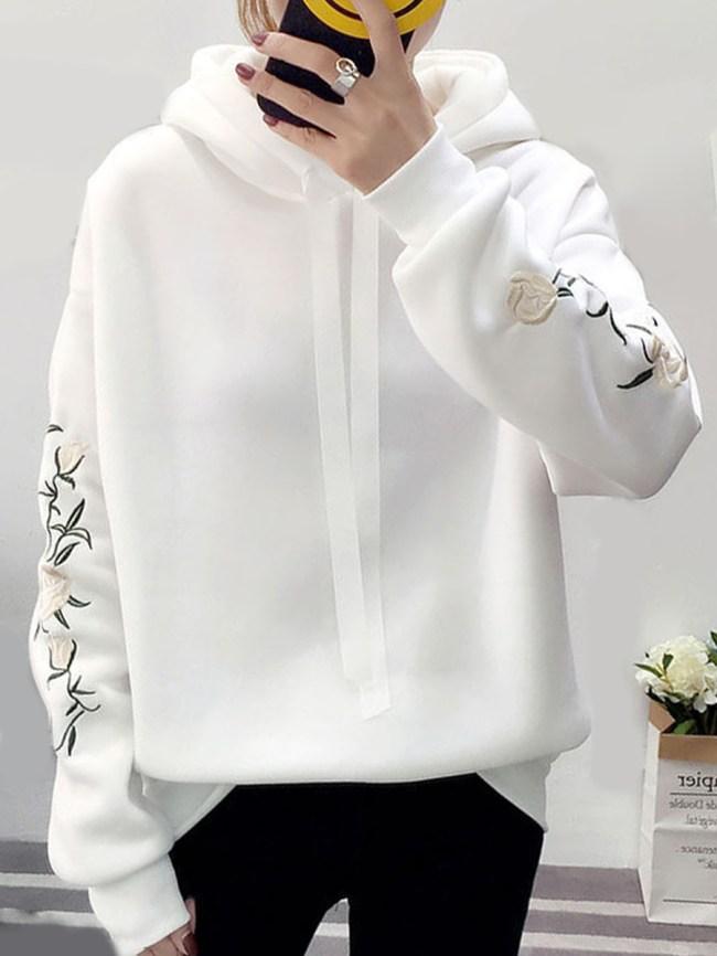 Fashionmia Embroidery Floral Plain Raglan Sleeve Long Sleeve Hoodies