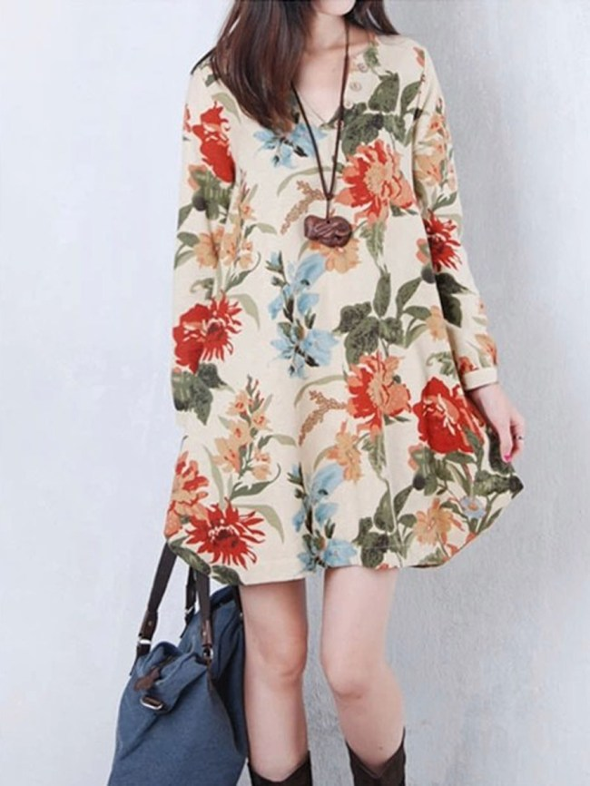 Fashionmia V-Neck Floral Long Sleeve Mini Shift Dress