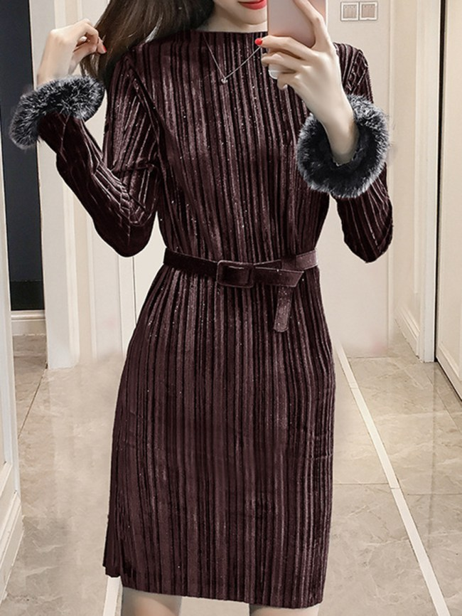 Fashionmia Band Collar Belt Plain Velvet Bodycon Dress