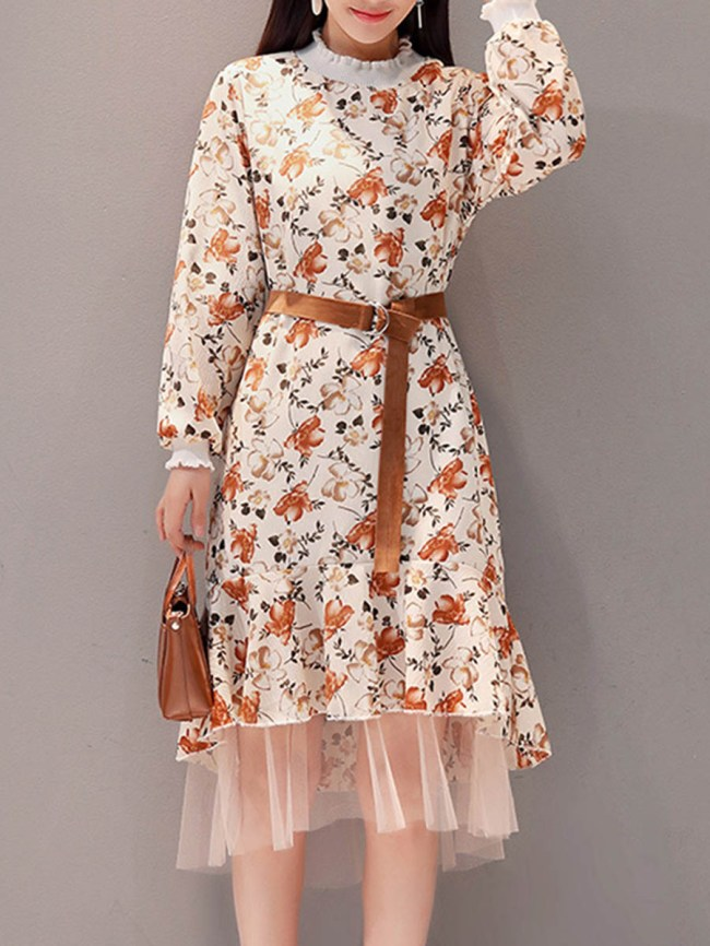 Fashionmia Band Collar Patchwork Floral Printed Belt Skater Dress