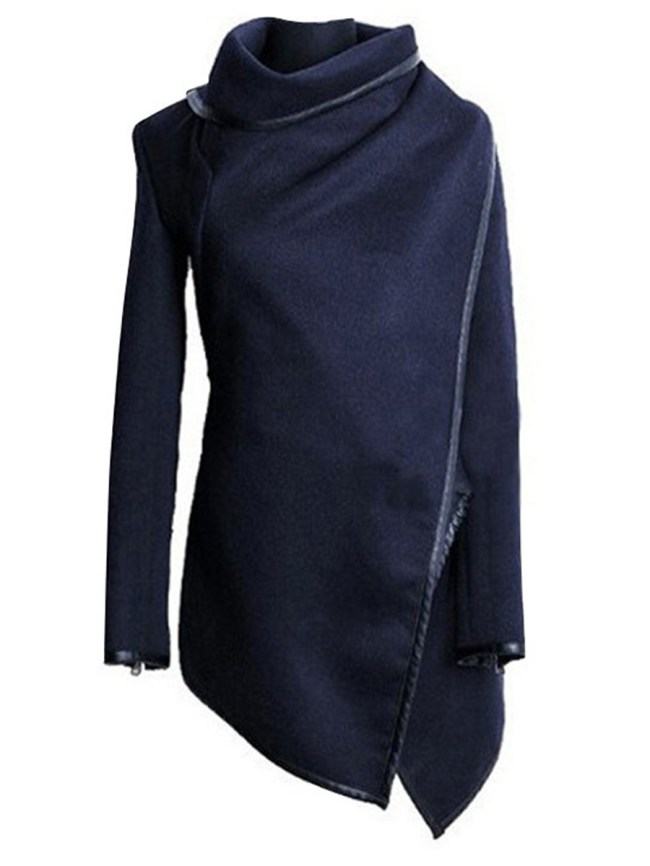 Fashionmia Blue High Neck Front Wrapped Trench Coat