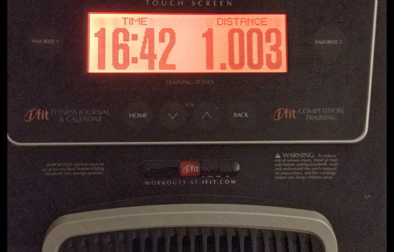 One mile on the treadmill