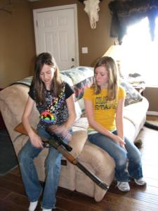 The Little Gal explains the safety on this .22 lever action rifle