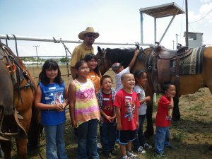 Kids were so excited after learning a bit of language to come and ride the horses.