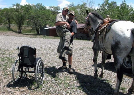 Loading disabled hunter for horseback hunt