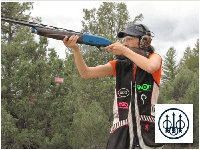 LG shooting Beretta A400 xCel. She is wearing Browning lady shooting vest available at hercamoshop.com