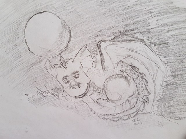 Pencil Drawing of Sleeping Dragon