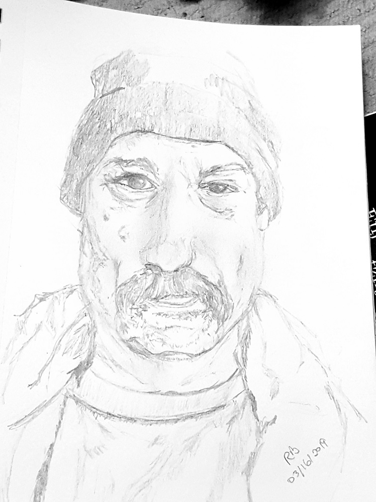 Drawing of Paul with a Winter Hat on