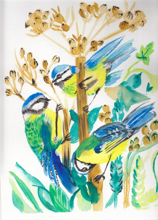 Water Colour of Chickadees