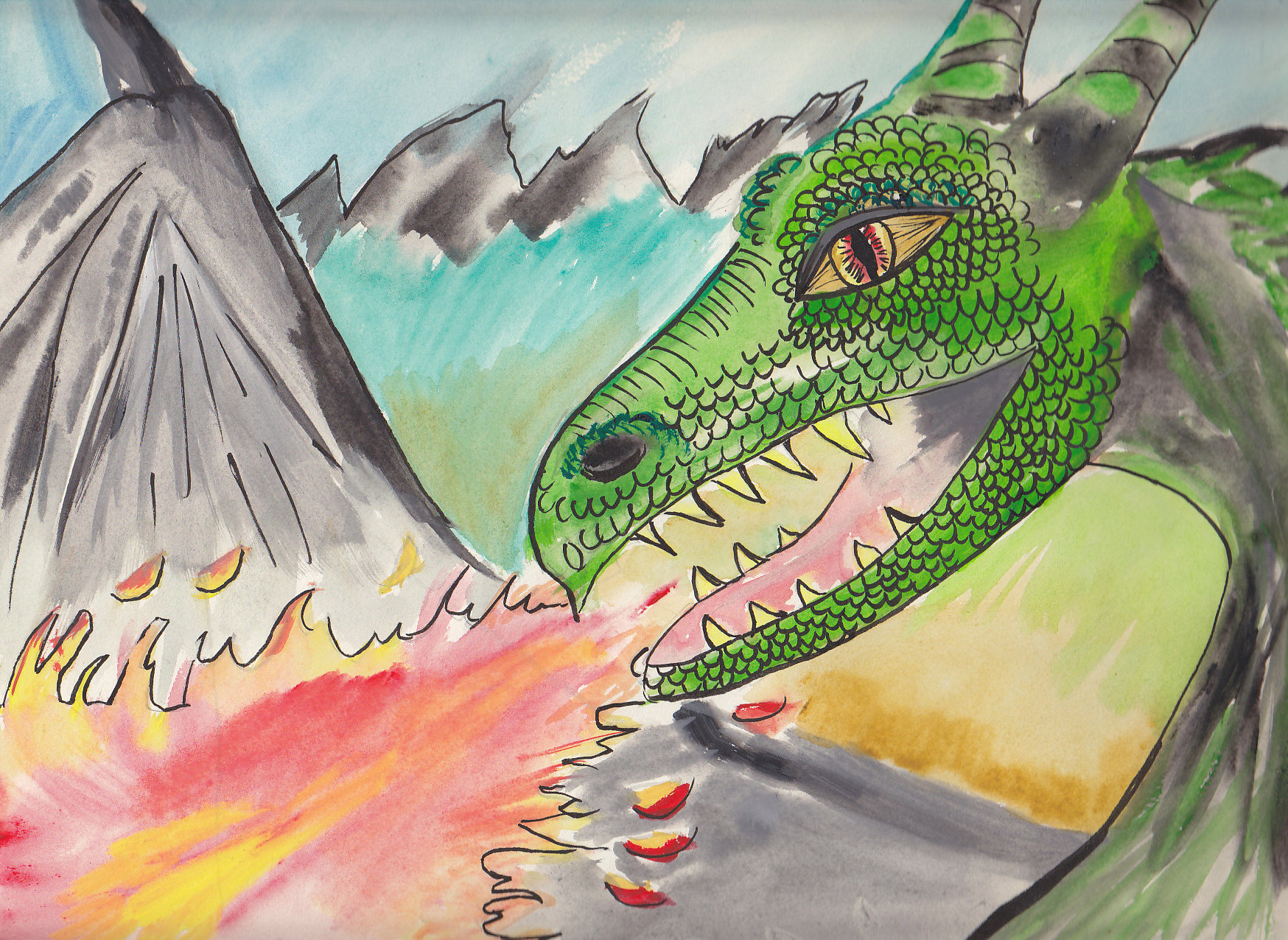 Finished Dragon WaterColour that was Inked