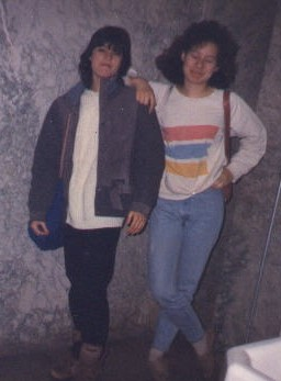 Picture of Jackie and Mia in high school looking super dorky.  and young.