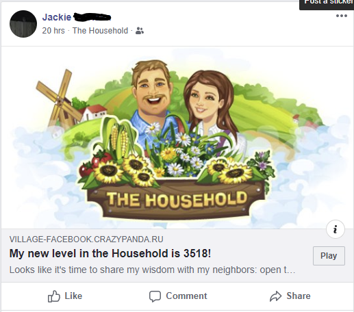 The Household, facebook post when you do something in the game.  This post was too announced she got to level 3518, and invited you to play the game.