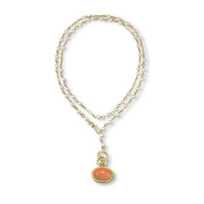 56967370b9fe90 18k Gold Large Rose Quartz Orb Pendant on Akoya Pearl Chain Necklace