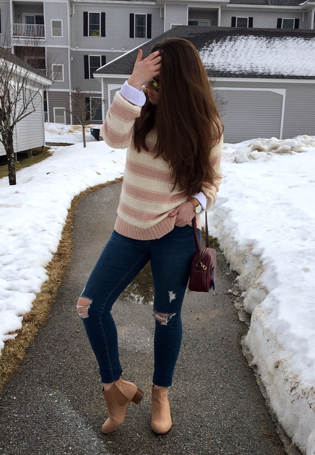 pink winter outfit