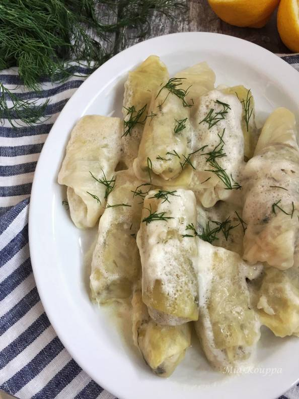 Greek Cabbage Rolls with Egg Lemon Sauce