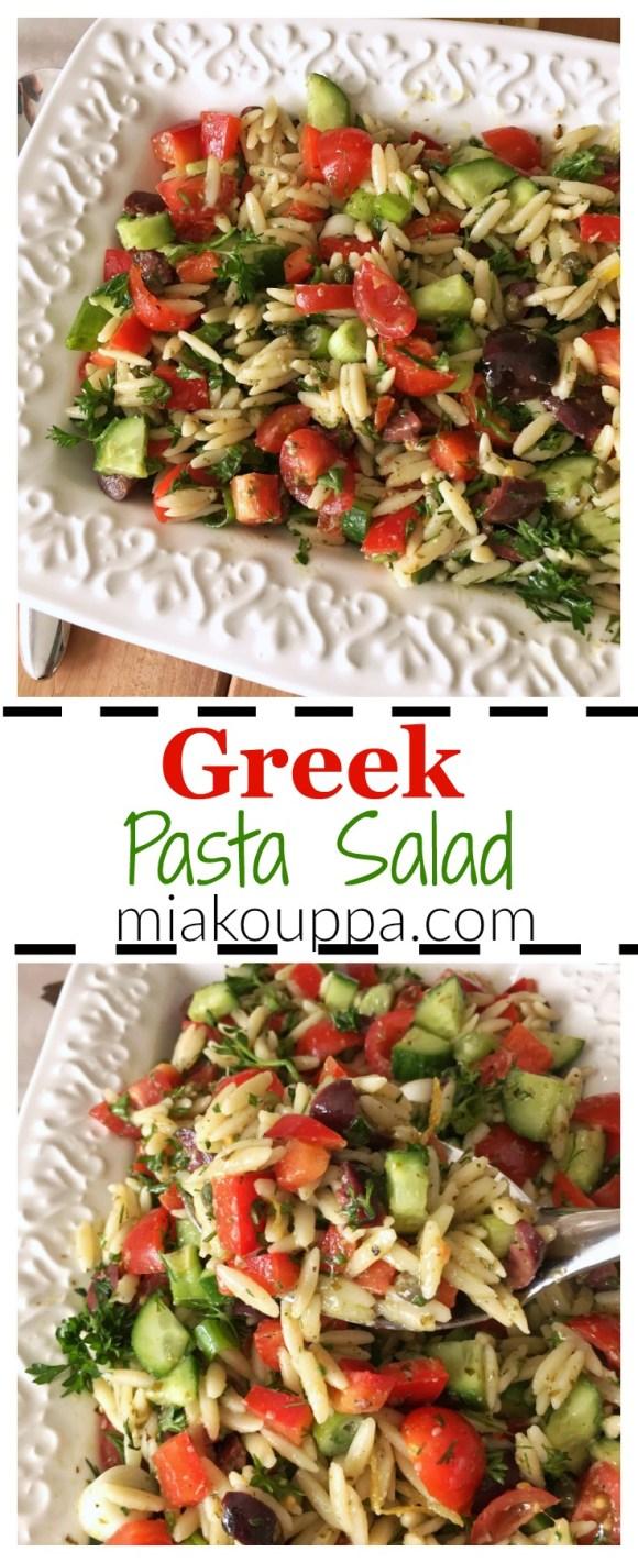 Greek pasta salad with orzo and pesto