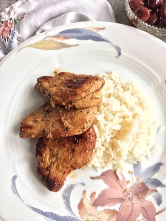 Pork tenderloin with rice