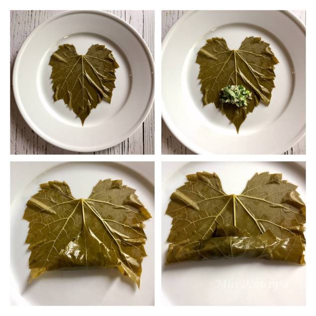 step by step on how to roll the dolmades