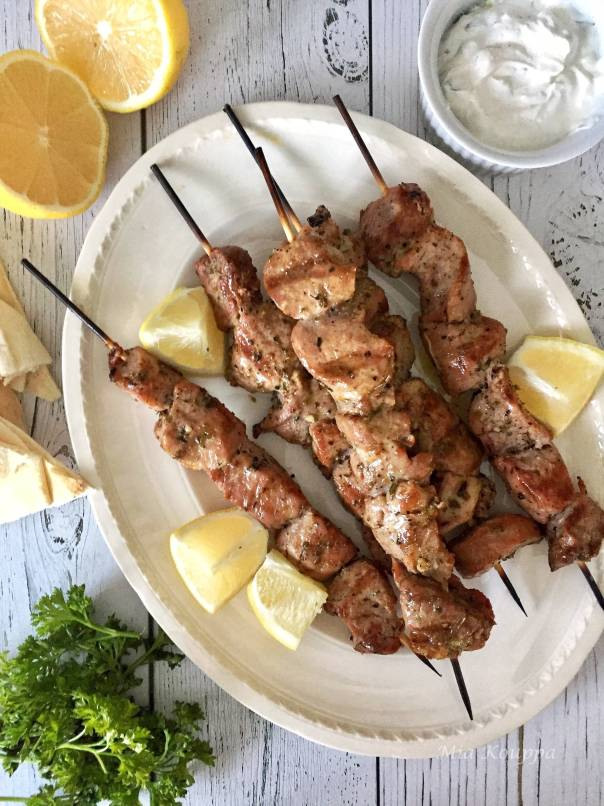 Grilled Pork souvlaki recipe. Marinated overnight, and deliciously flavourful and tender