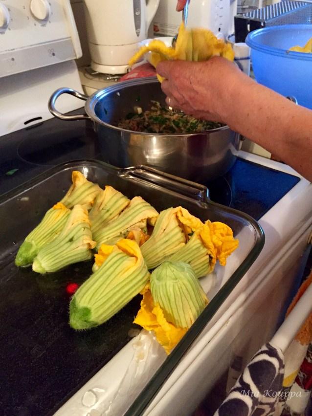 Stuffing zucchini flowers